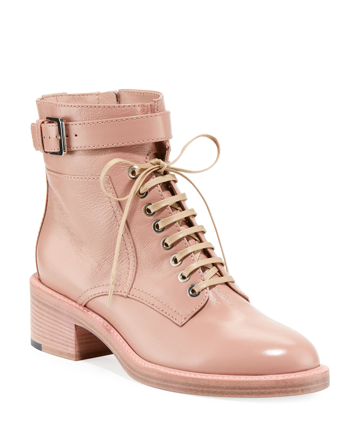 Pink lace up combat boots