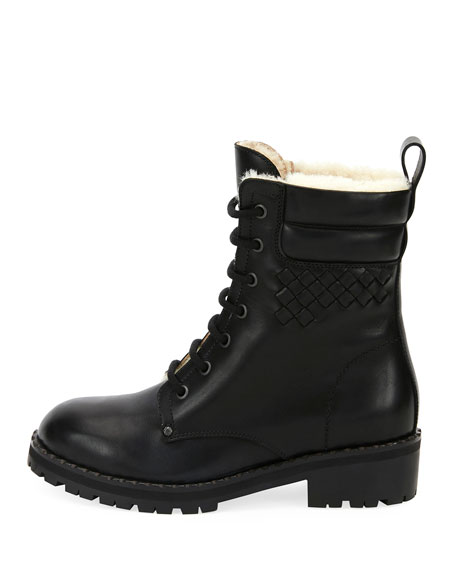 Shearling Fur-Lined Combat Boot