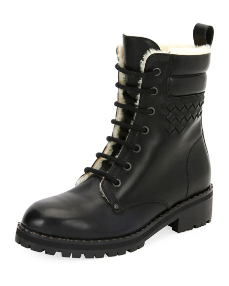 Bottega Veneta Shearling Fur-Lined Combat Boot