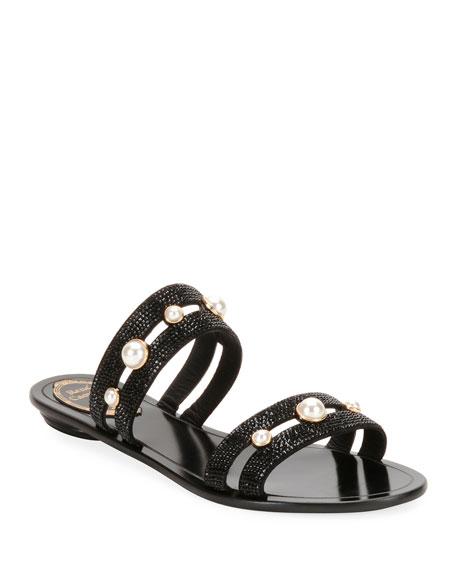 Rene Caovilla Embellished Double-Band Sandal