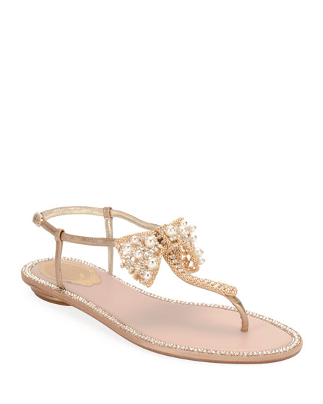 Rene Caovilla Flat Thong Sandal with Golden Bow