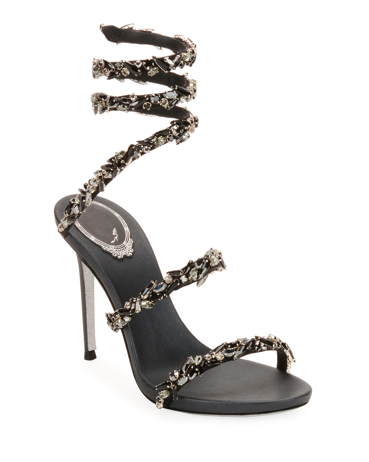 49f38cf78d1 Rene Caovilla Snake-Coil Sandal with Crystal Detail