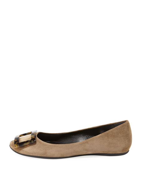 Gommette Suede Buckle Ballet Flats with Tortoise Buckle