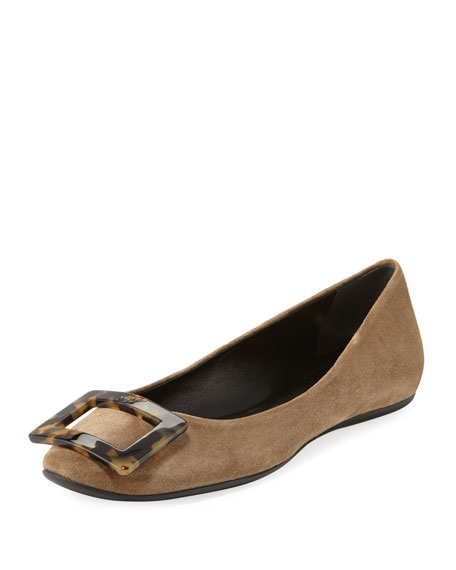 Roger Vivier Gommette Suede Buckle Ballet Flats with