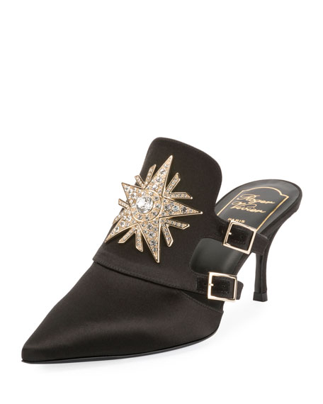 Roger Vivier Satin Strass Star 65mm Mule