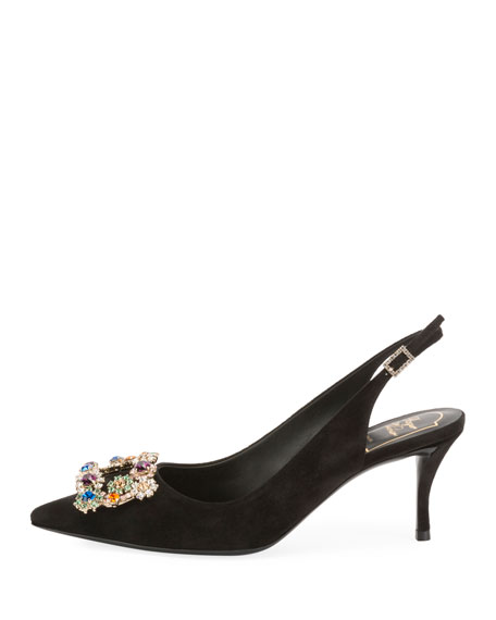 Suede Crystal Flower-Buckle Slingback Pumps