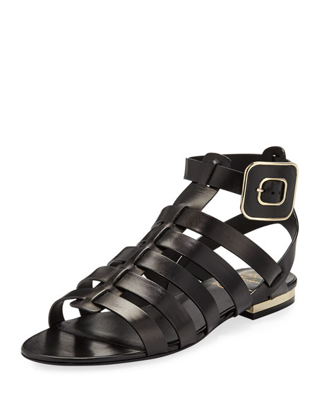 MINI BUCKLE FLAT STRAPPY SANDALS