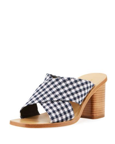Paige Gingham Slide Sandal