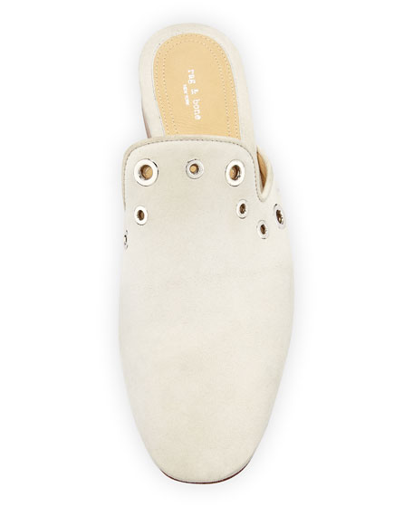 Luis Suede Loafer Mule Slide with Grommet Detail