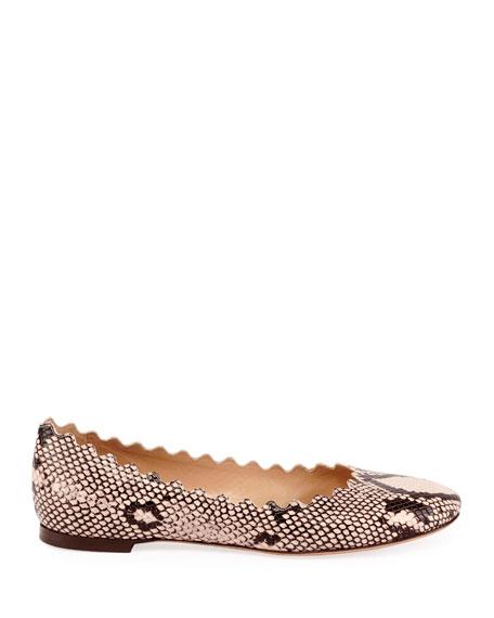Lauren Scalloped Snake-Print Ballet Flats