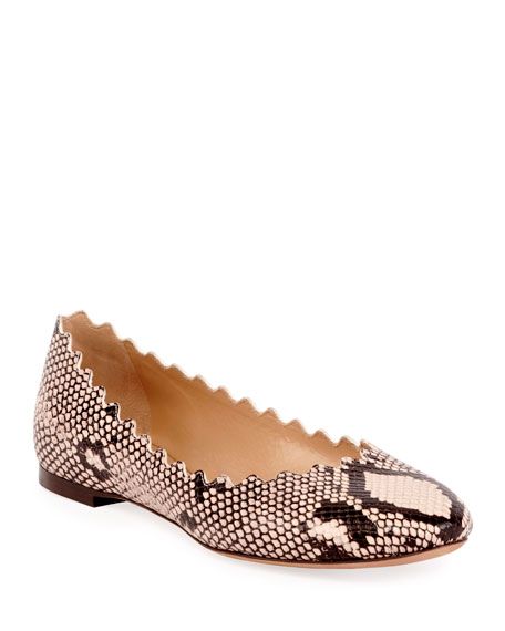 Women'S Lauren Snakeskin-Embossed Leather Ballerina Flats in Snake Print