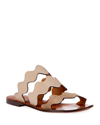 Flat Wave Mixed Slide Sandal