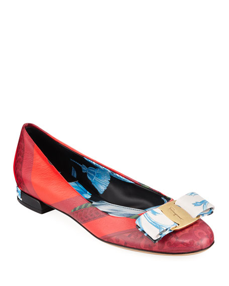 Salvatore Ferragamo Printed Leather Bow Ballet Flats