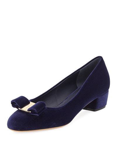 Velvet Pumps with Vara Bow, Oxford Blue