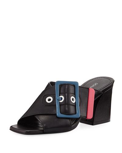 Tricolor Buckle Slide Sandals