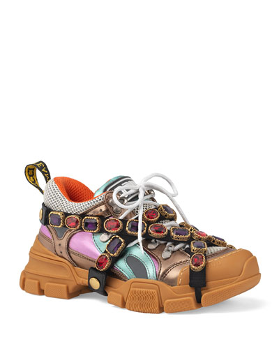 Metallic Hiker Sneakers with Jeweled Strap