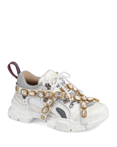 Tonal Hiker Sneakers with Jeweled Strap