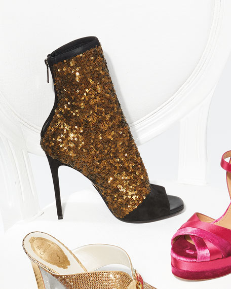 Fay Glitter Open-Toe Ankle Boot