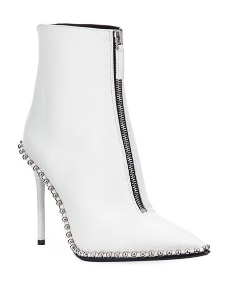 Alexander Wang Eri Leather Dual-Zip Bootie with Studs