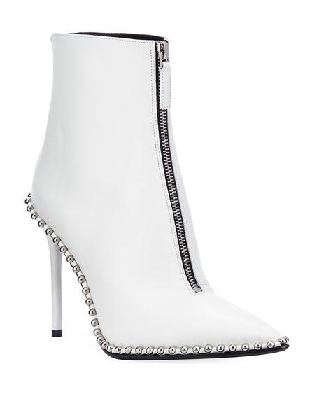 Alexander Wang Eri Leather Dual-Zip Booties with Studs