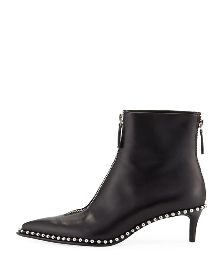 Eri Low Leather Ball-Stud Booties