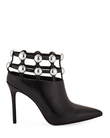 Tina Leather Studded Grid Cage Booties