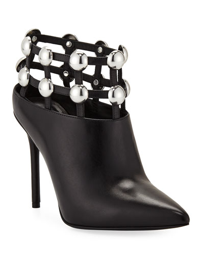 Tina Leather Studded Grid Cage Bootie