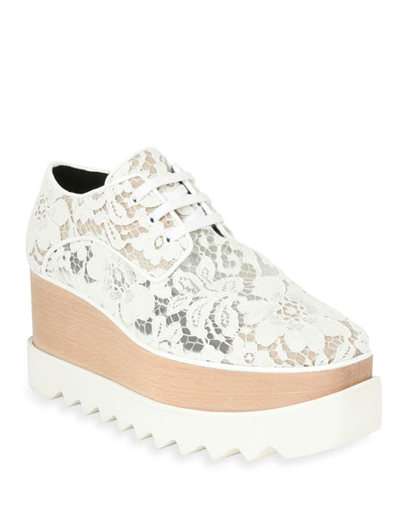 Elysse Lace Platform Wedge Sneaker, White