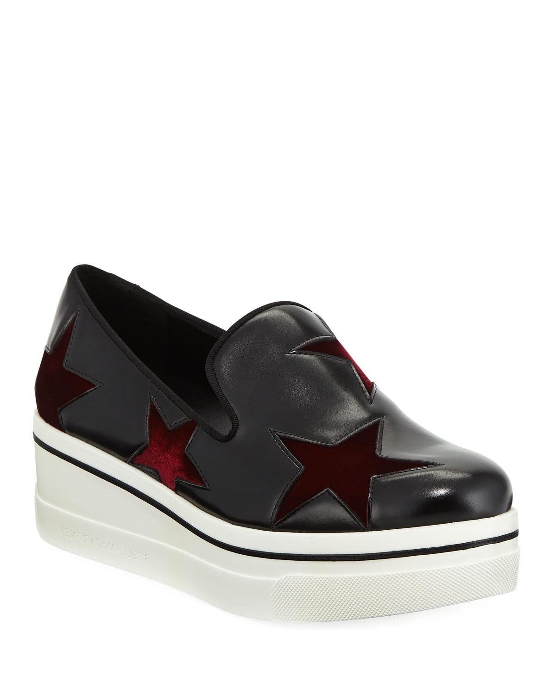 445b33b89e15 Stella McCartney Binx Velvet-Star Platform Sneakers