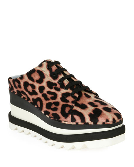 Elyse Faux Leather-Trimmed Leopard-Print Satin Platform Brogues in Brown