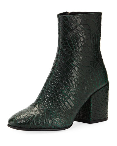 Embossed Leather Ankle Bootie