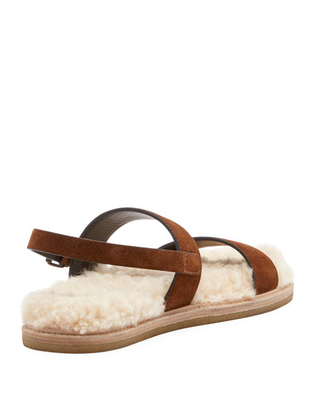 Joan Noe Flat Suede Sandals with Shearling Footbed