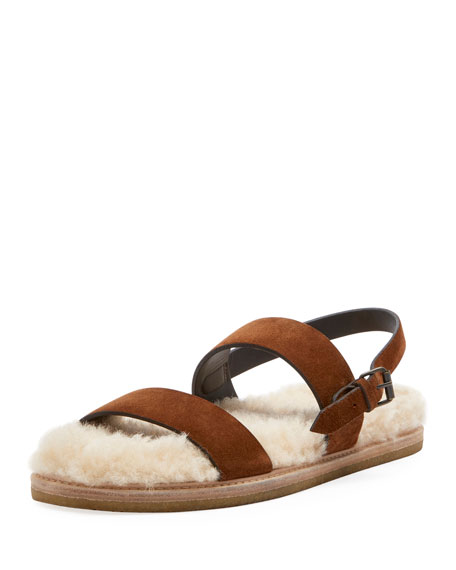 Saint Laurent Joan Noe Flat Suede Sandals with