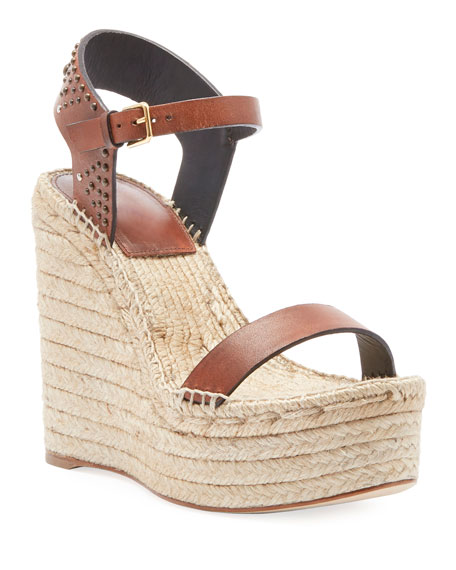 Saint Laurent Leather Platform Wedge Espadrille Sandal