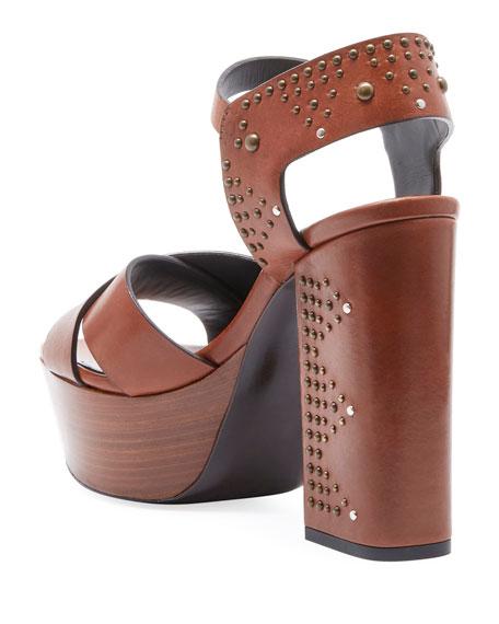 Farrah Studded Leather Platform Sandal