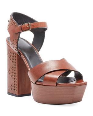 90ec71c058c Saint Laurent Farrah Studded Leather Platform Sandal