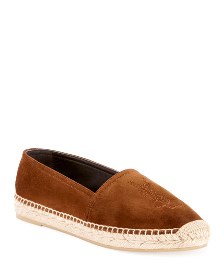 Saint Laurent Flat Logo Suede Slip-On Espadrille Flat