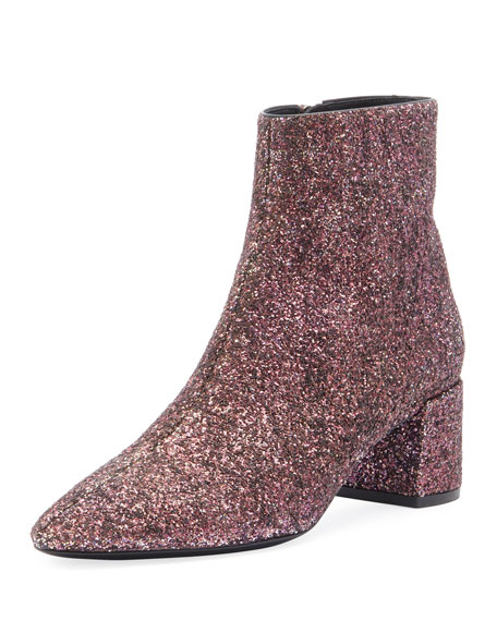 Saint Laurent Lou Lou Washed Glitter Booties