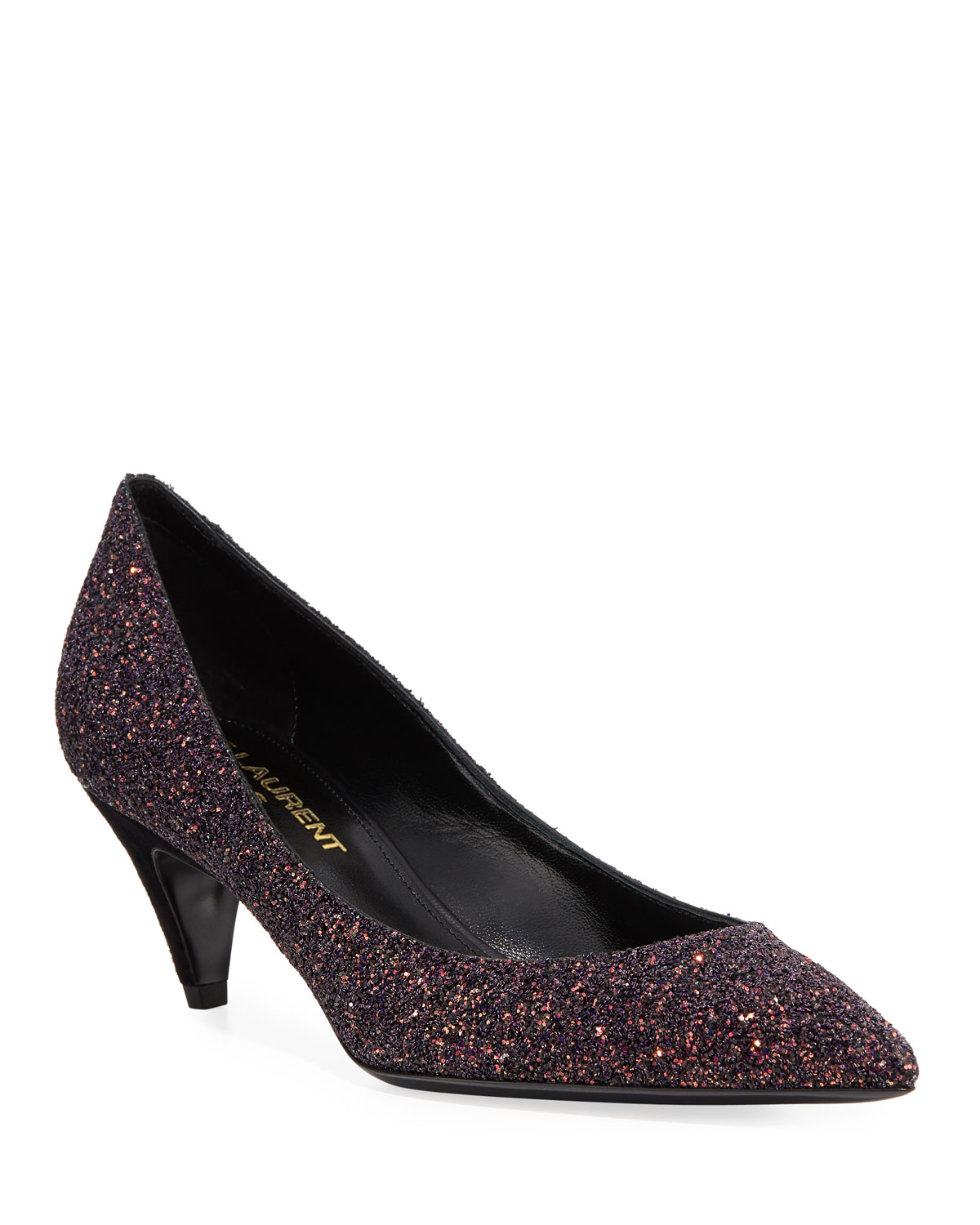 5b2d0fd5896 Saint Laurent Charlotte Glitter Point-toe Kitten-Heel Pumps