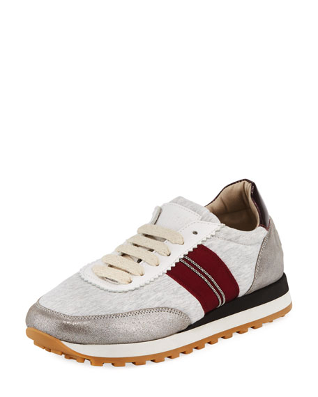 Brunello Cucinelli Metallic Jersey Runner Sneakers