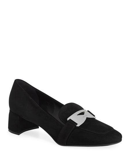 Suede Loafer Pump with Logo Plaque