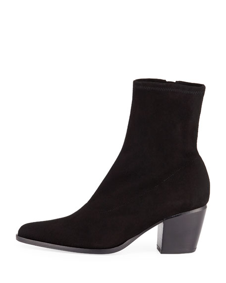 Hayek Suede Block-Heel Sock Booties