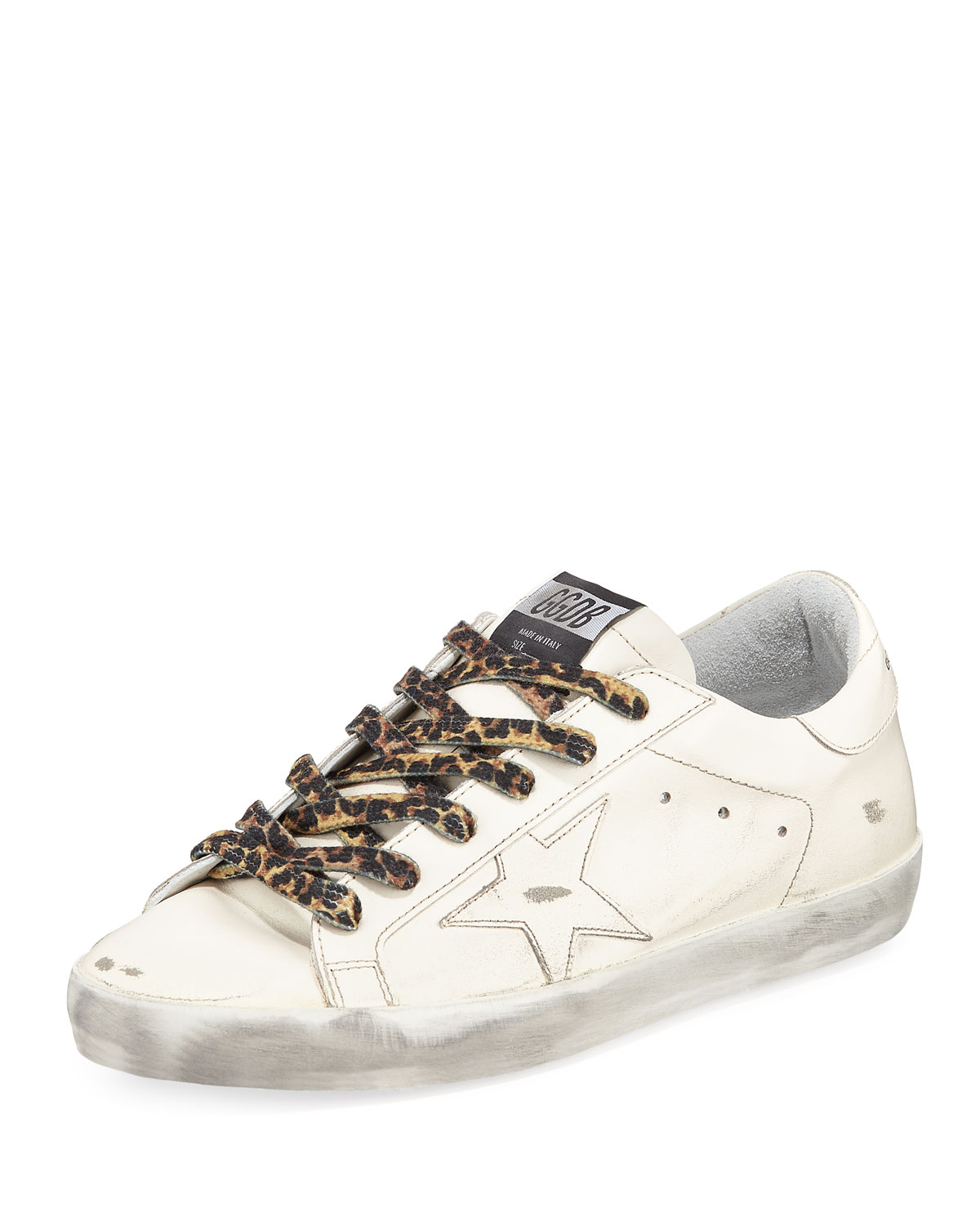the latest 1a629 d652c Golden Goose Superstar Leather Low-Top Sneakers with Leopard Laces