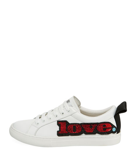 Love-Embellished Empire Low-Top Sneakers