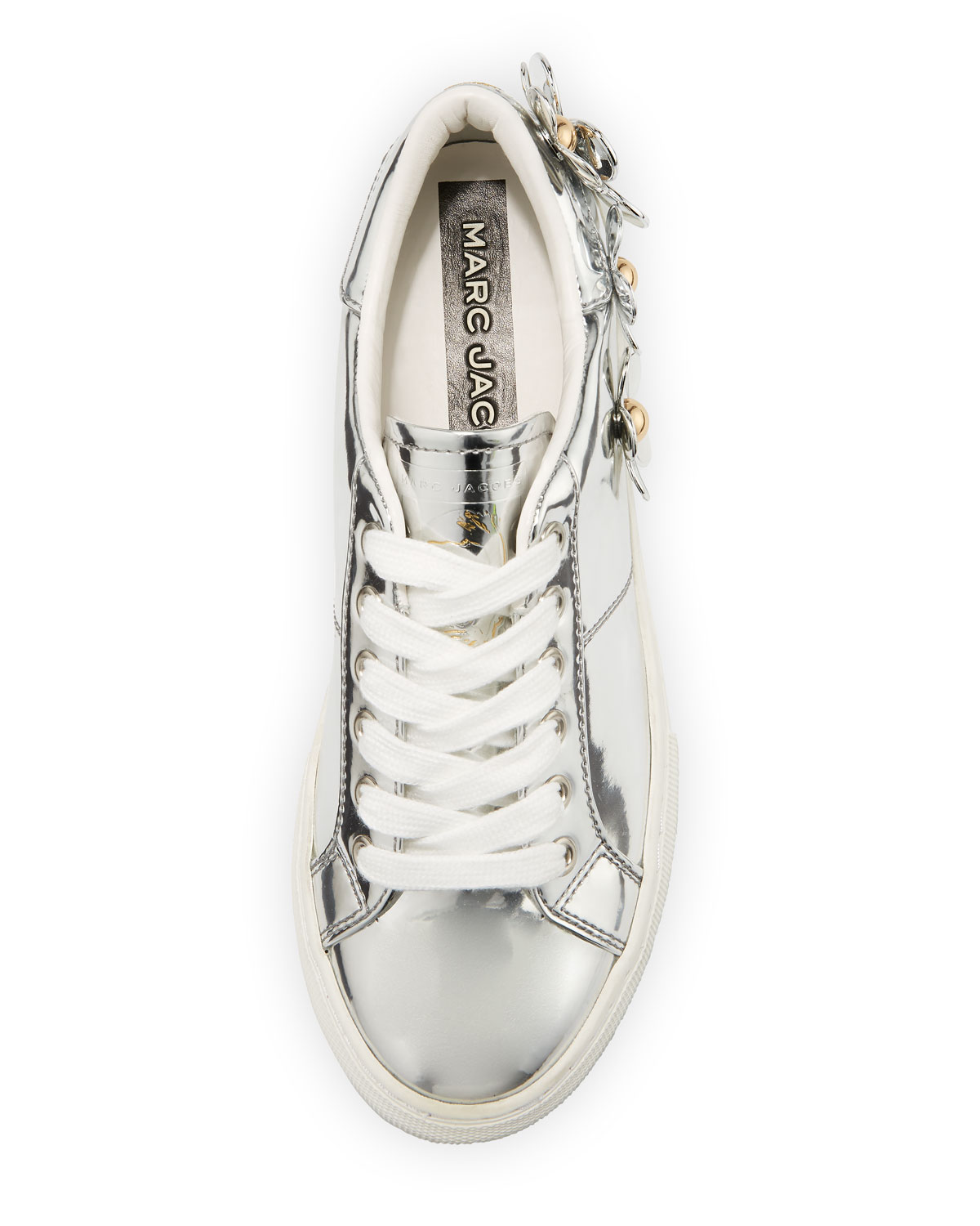 Marc Jacobs Daisy Metallic Low-Top Sneakers with Studded Flowers