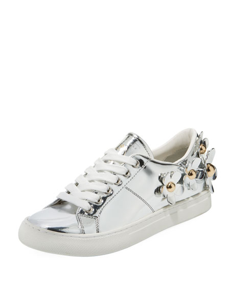 Women'S Daisy Embellished Patent Leather Lace Up Sneakers, Silver