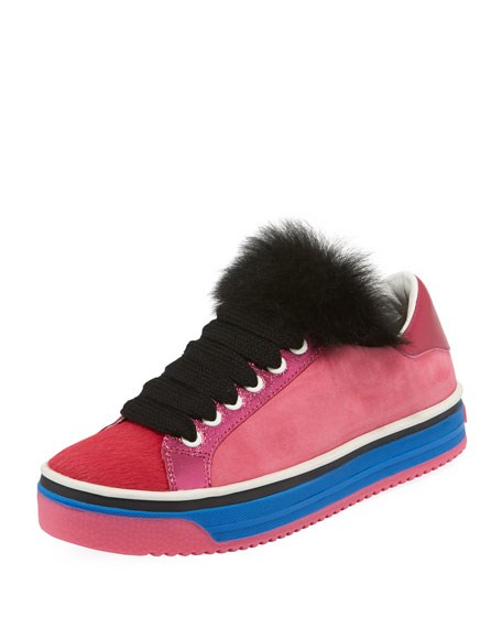 Marc Jacobs Love Empire Fur/Suede Low-Top Sneakers