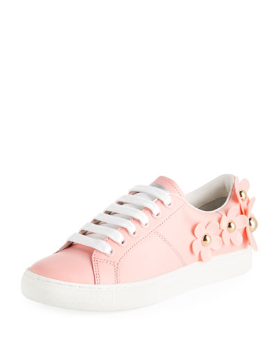 Daisy Stud-Flower Leather Low-Top Sneakers