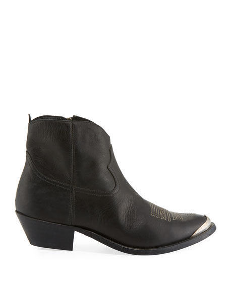 Young Leather Metal-Toe Ankle Boot