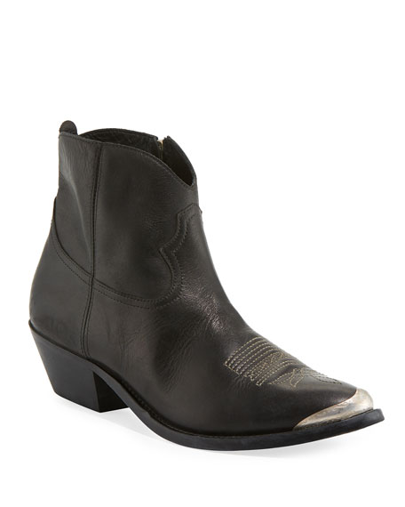 GOLDEN GOOSE Young Leather Ankle Boots - Black Size 5